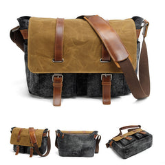 Green/Gray Canvas Men's Leather Leisure Camera Bag 16940 - icambag