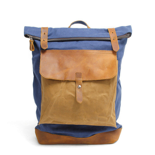 "Big Leisure Leather Canvas School Bag IPAD 14"" Laptop Backpack 104 - icambag"