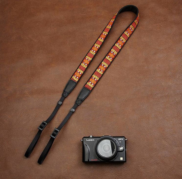 Embroidered Style Strap Handmade Leather Camera Strap 7544 - icambag