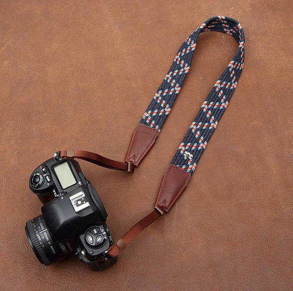 Weaving Style DSLR Deep Blue  Handmade Leather Camera Strap 8792 - icambag