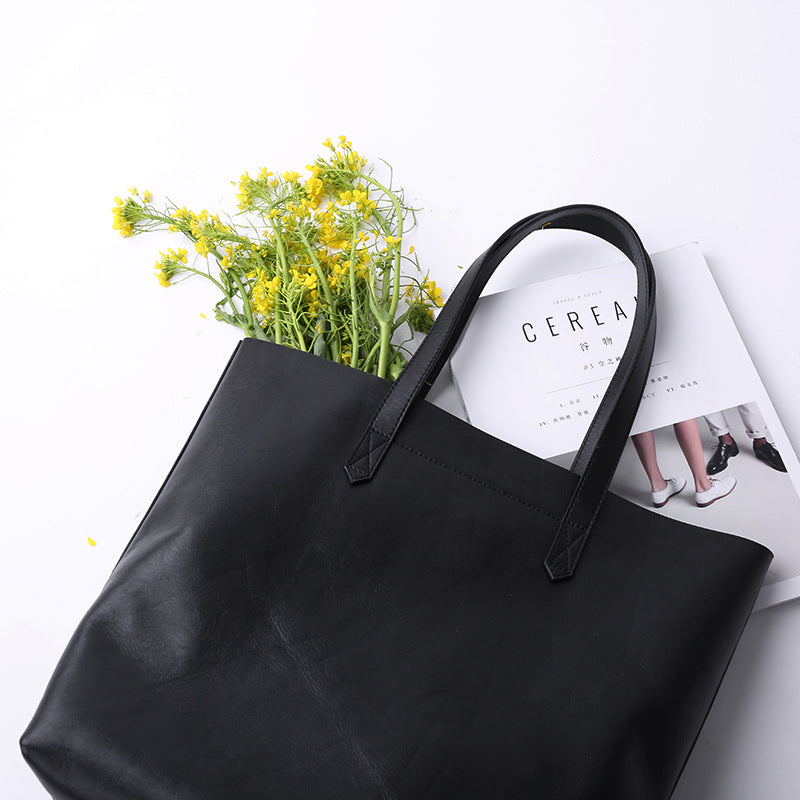 Black/Brown Leather Tote Bag  Women's Shopping Bag Christmas Presents