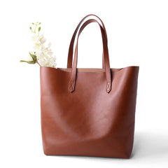 Black/Brown Leather Tote Bag  Women's Shopping Bag Christmas Presents - icambag
