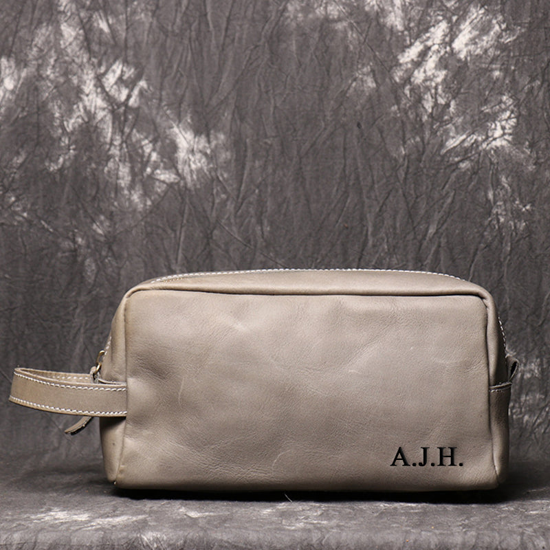 Personalized Groomsmen Gift Dopp Kit Bag Wedding Gift for him Leather Toiletry Bag Monogram Mens Toiletry Bag Leather Mens Best man Gift - icambag