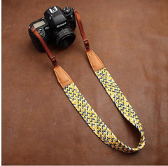 Weaving Style Yellow Handmade Leather Camera Strap 8783 - icambag