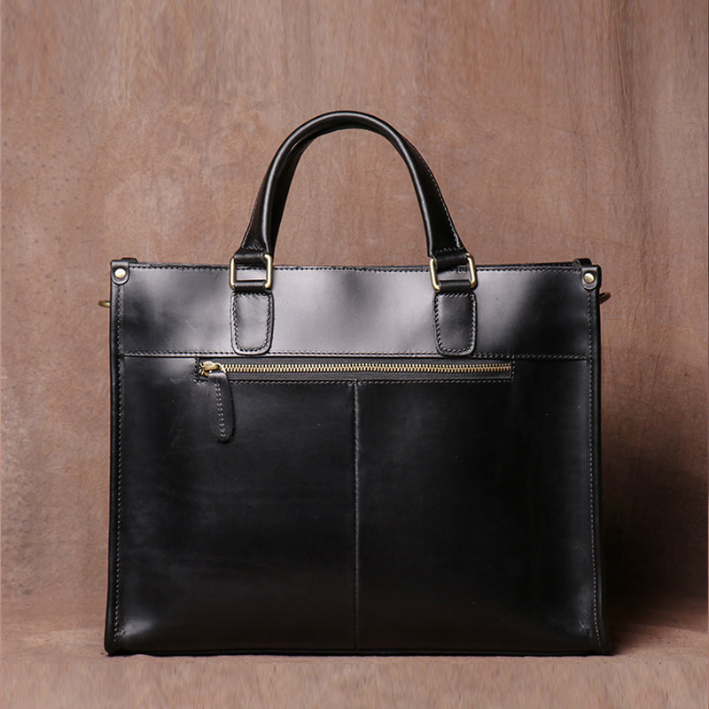 Vintage Men's Handbag Briefcase Leather Bag Computer Bag Cross Body Bag Handmade Crazy Horse Skin Shoulder bag - icambag