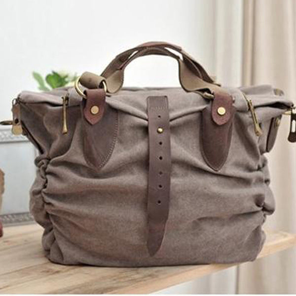 Leisure single shoulder bag Leather Washed Canvas Bag Messenge Big Leather Laptop Bag 3107 - icambag