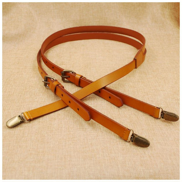Wedding Groomsmen Leather Suspender, Men's Suspenders in Yellow Brown - icambag