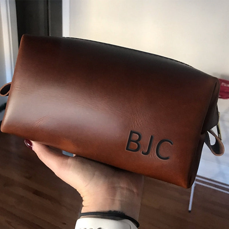 Personalized Toiletry Bag Groomsmen Gift Father Gift for Mens Mens  Gift for Him Leather Dopp Kit Bag Groom Gift Groomsman Gift - icambag