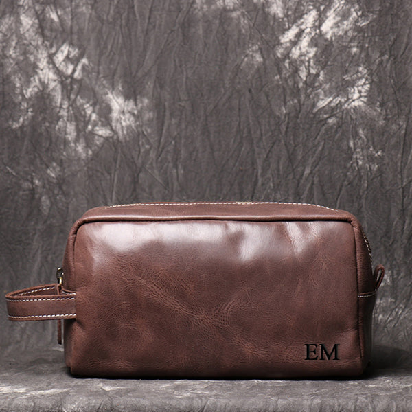 Personalized Groomsmen Gift Dopp Kit Bag Wedding Gift for Him Leather Toiletry Bag Monogram Available Mens Leather Boyfriend gift Travel bag - icambag