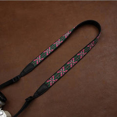 Green DSLR Strap  Canon Handmade Leather Camera Strap Embroidered Style 7556 - icambag