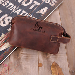 Personalized Groomsmen Gift, Adjustable Leather Dopp Kit Toiletry Bag Travel Bag Gift for Husband Dad Grad Boyfriend - icambag