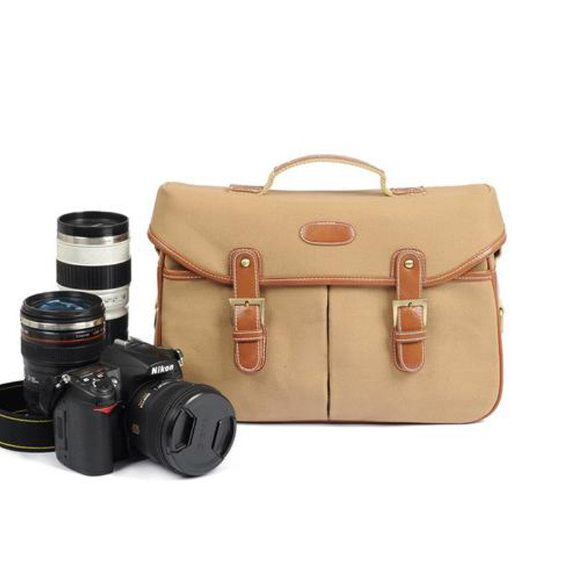 Brown Vintage DSLR Camera Message Bag - icambag