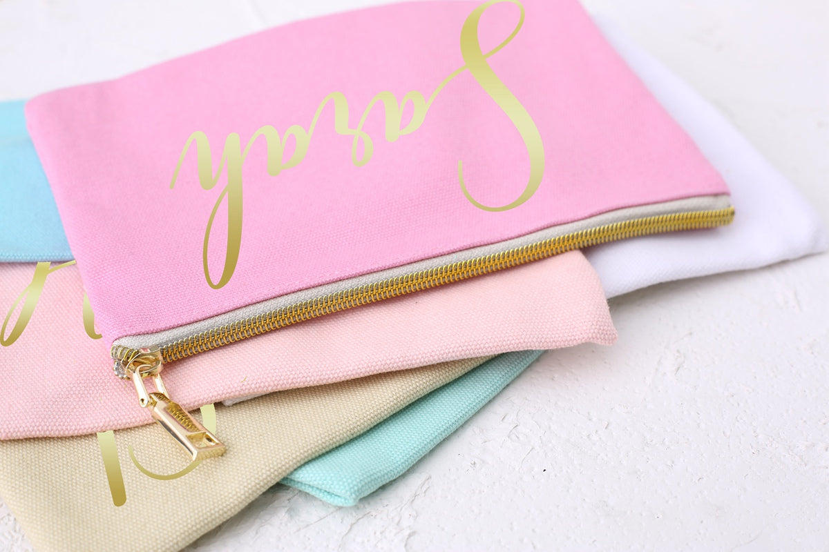 Wedding Thank you Gift /Makeup Cosmetic Bags/Personalised Bridesmaid Gift Make Up Bag/ Maid of Honour Gift/Unique Gift for Bridal Party - icambag