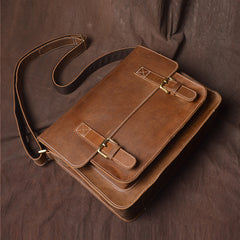 Original First Layer Cowhide Retro Single Shoulder Cross Body Bag Male Handmade Crazy Horse Skin Postman Package Casual Bags
