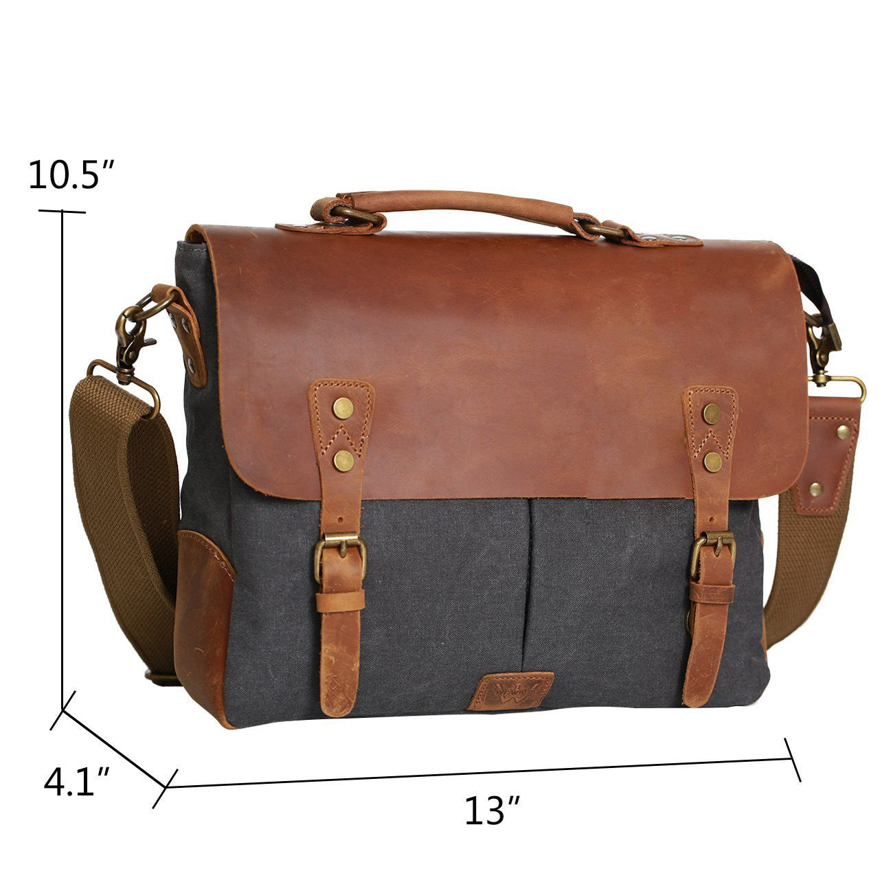 Messenger Satchel bag for men and women,Vintage canvas real leather 14-inch Laptop Briefcase - icambag