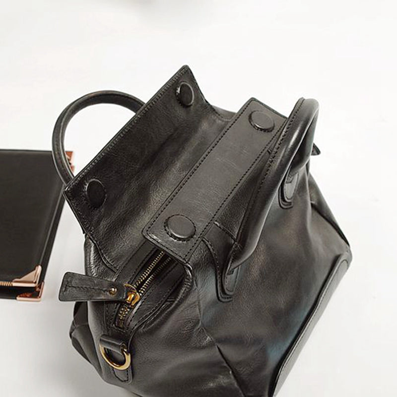 Handmade Lady Crossbody Bag, Top Grain Leather Handbag, Vintage Shoulder Bag BF055 - icambag