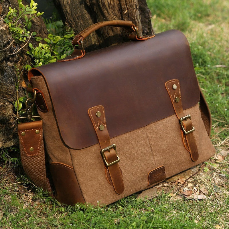 Satchel Messenger Bag for men Vintage Real Leather Canvas 15.6-inch Laptop  messenger bag  Briefcase 0ac294933c107