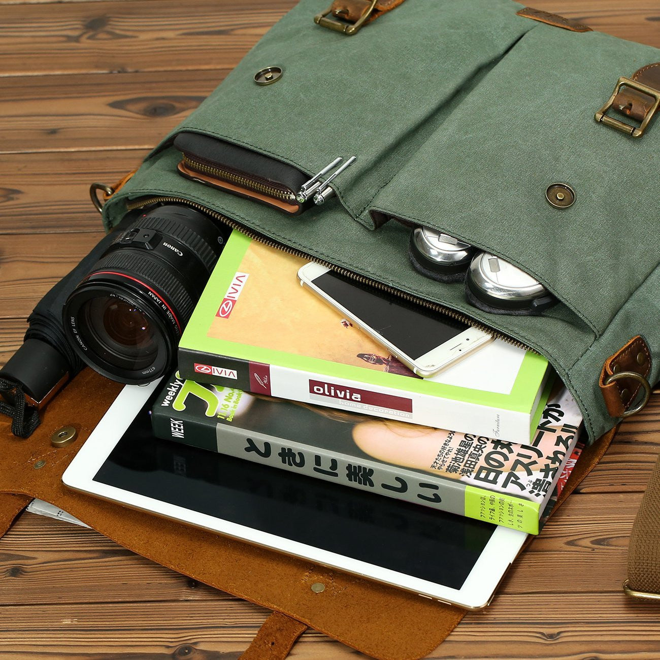Leather Vintage Messenger Bag for 15.6 inch laptops,Satchel Briefcase Bag for Men and Women Green - icambag