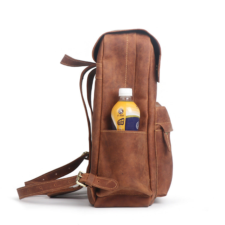 Crazy Horse Leather Backpacks For Women,Handmade Natural Leather Bag