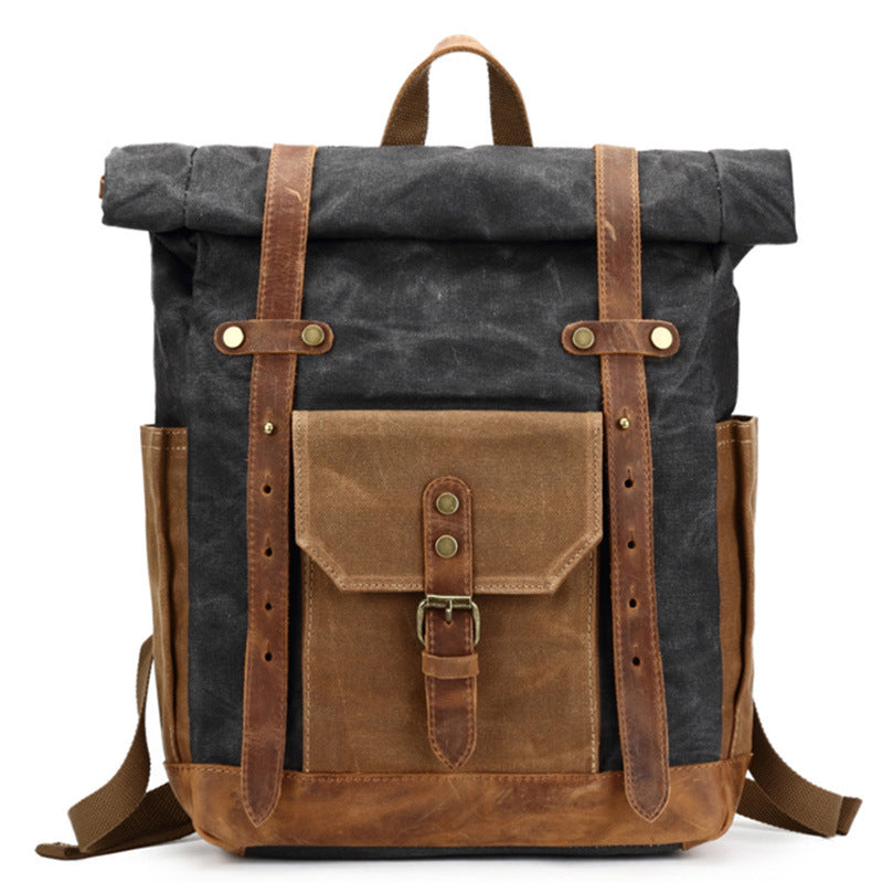 Waxed Canvas Backpack With Leather, Casual School Bag, Travel Rucksack 8808
