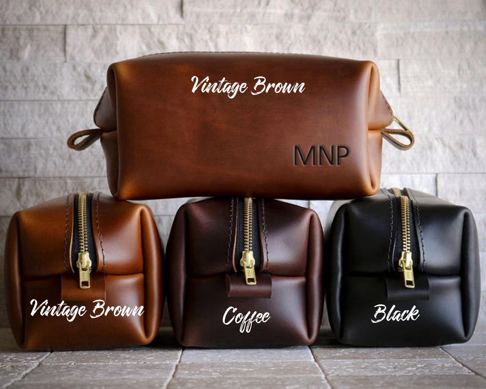 Personalized  Dopp Kit Groomsmen Gift Father Gift for Mens Mens Toiletry Bag Gift for Him Leather Dopp Kit Bag Groom Gift - icambag