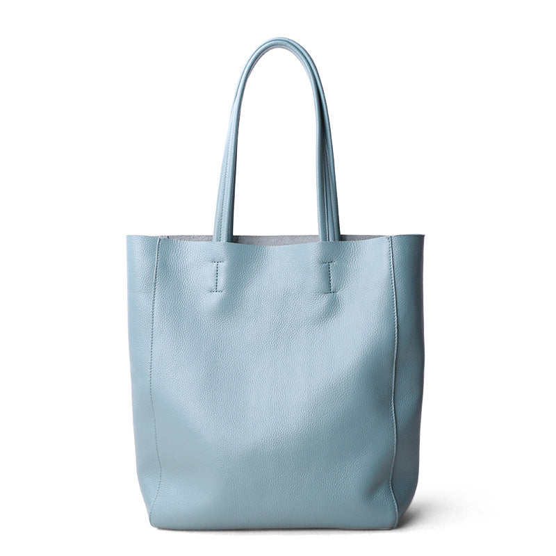 Blue Leather Tote Bag Women's Shopping Bag Christmas Presents - icambag
