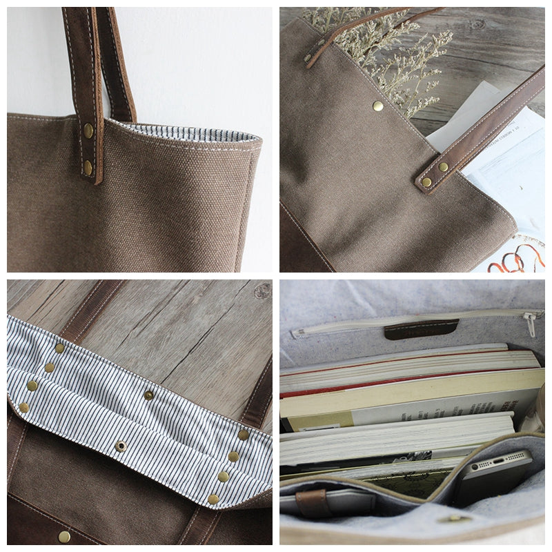 d6d3d00e41 Handmade Waxed Canvas Bag Printting Handcrafted Women Totes Bag School  Daily Big Pocket Bag 16006