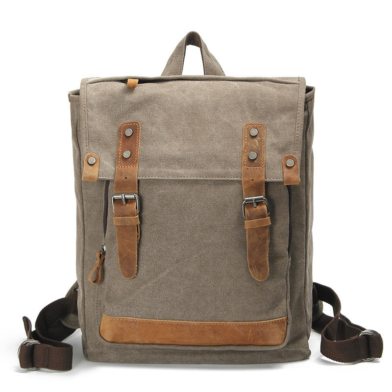 Vintage Waxed Canvas Backpack With Crazy Horse Leather, Casual School Bag, Travel Rucksack AF02