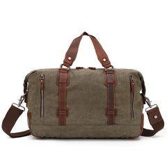 Waxed Canvas Travel Bag With Leather, Men's Duffle Bag, Overnight Bag AF11