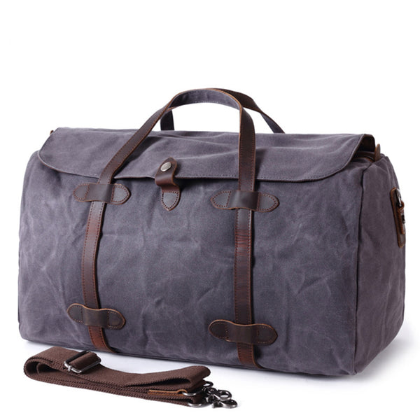 Large Waxed Canvas Duffle Bag, Casual Gym Bag, Weekend Bag AF12BATIK - icambag