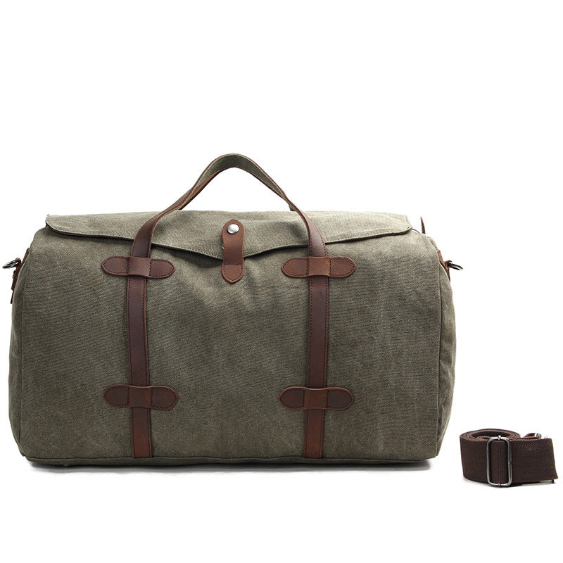 Handmade Waxed Canvas Duffle Bag, Casual Travel Bag, Weekend Bag AF12 - icambag