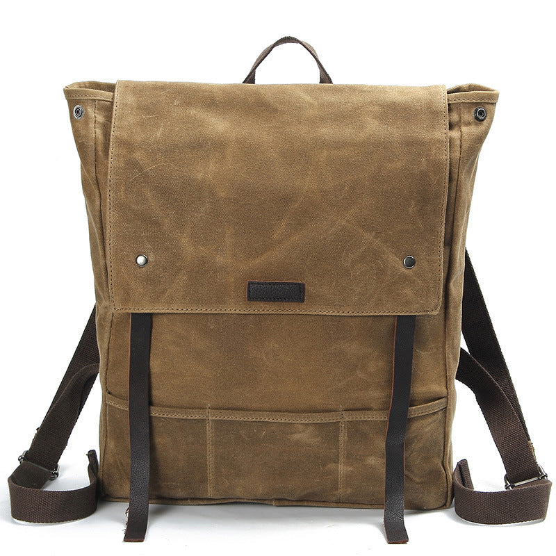 Canvas Leather Backpack Waterproof Rucksack Mens Waxed Canvas Backpack AF17 42456d304d
