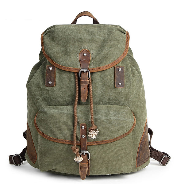Waxed Canvas Large Backpack, Canvas and Leather Travel Bag, Hiking Rucksack AF18