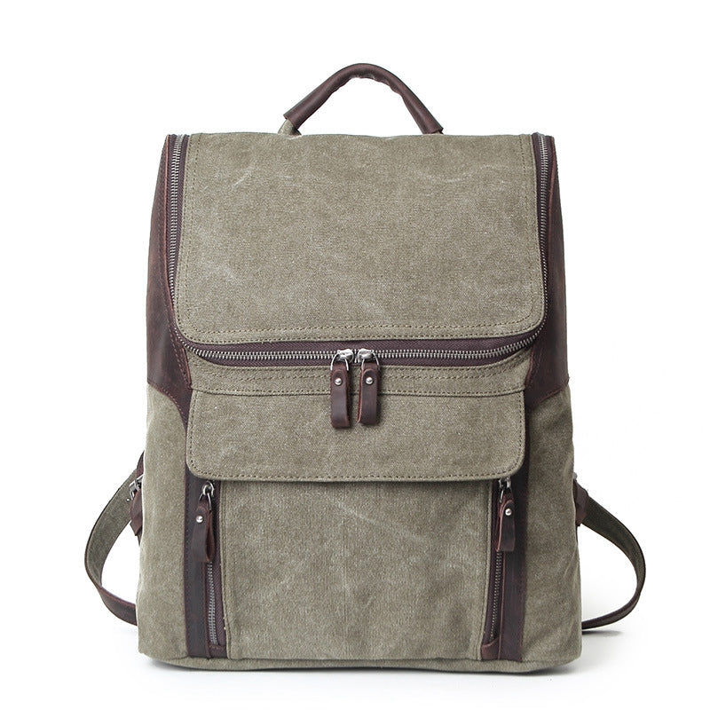 Waterproof Canvas and Leather Backpack, Casual School Bag, Hiking Rucksack AF21