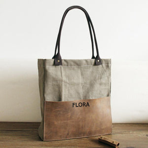 Canvas Leather Tote Bag for Women Tote Bag Leather Purse Handbag Monogram Tote Laptop Work & Student Bag - icambag