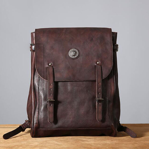 New Design Top Grain Leather Backpack, School Backpack Men - icambag
