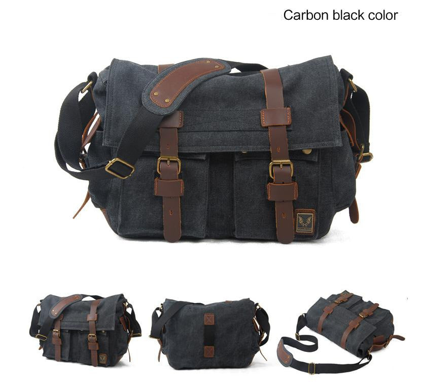 Black Canvas Vintage DSLR  Camera Bag - icambag