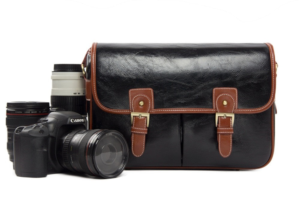 Black PU Leather DSLR Camera Message Bags - icambag