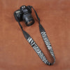 Black White Stripe Cotton Strap Leather DSLR Camera Strap 8263 - icambag