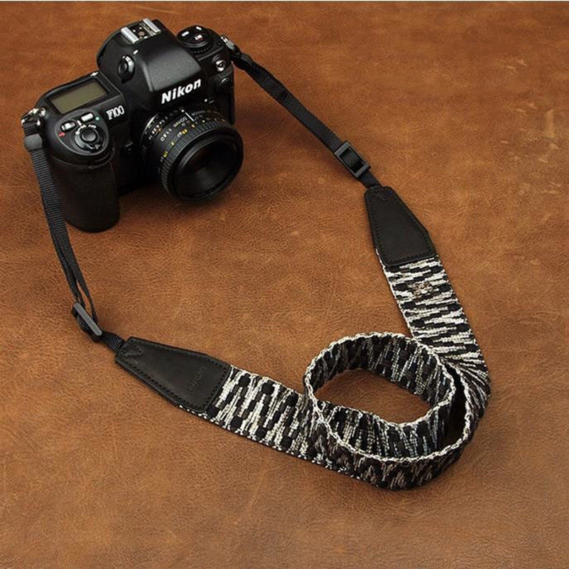 Black White Stripes Leather Camera Strap For Sony/Nikon/Canon - icambag