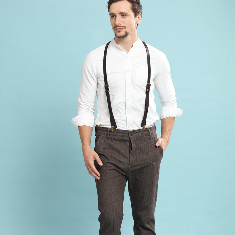 Wedding Groomsmen Suspender, Black Coffee Leather Suspenders,Suspenders for men - icambag