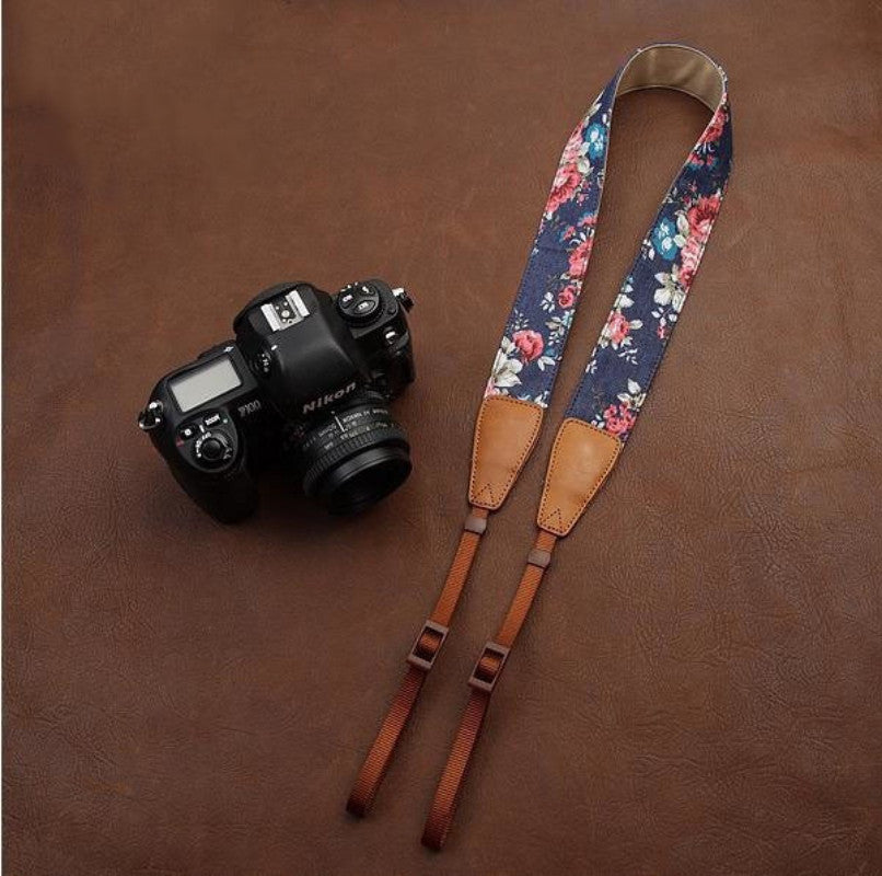 Blue Cowboy Flower  Handmade Leather Camera Strap Brown 7134 - icambag