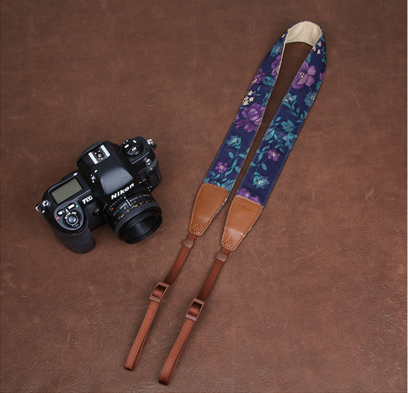 Blue Cowboy Flowers DSLR Camera  Cotton Handmade Camera Strap 7142 - icambag