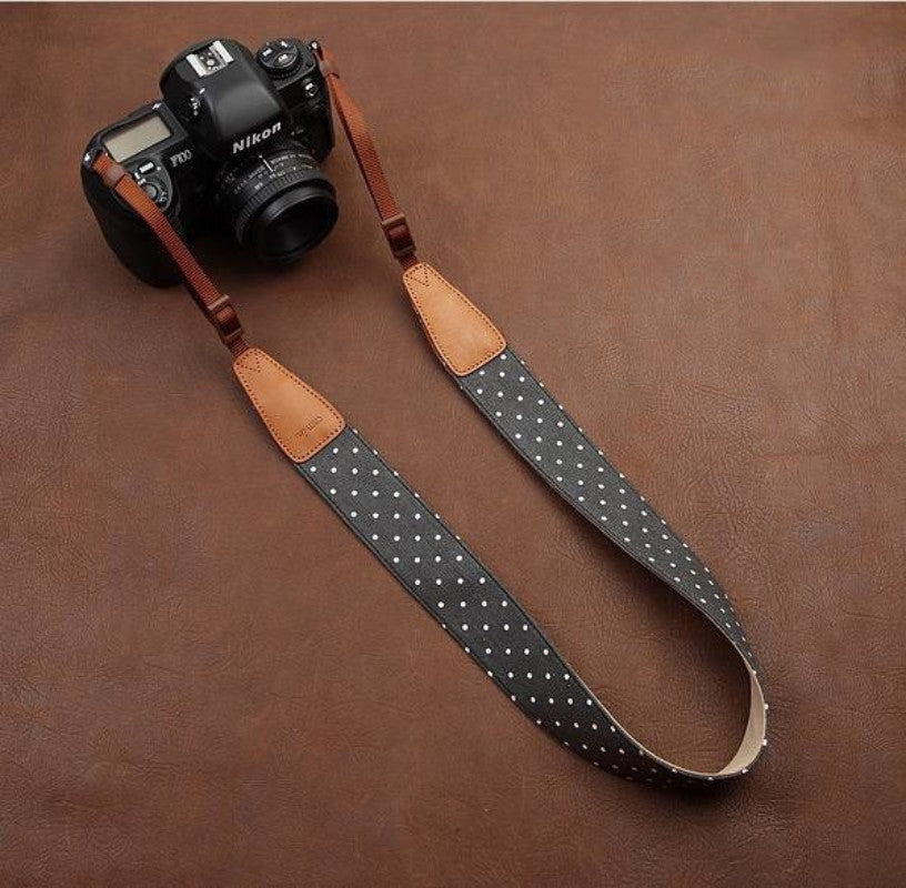 Cowboy White Dot Leather DSLR Camera Strap in Brown 7117 - icambag