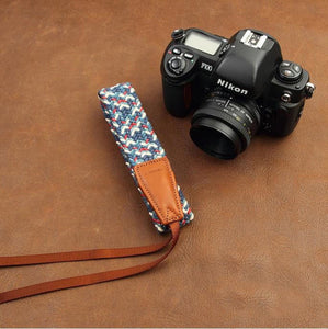 Blue Handmade DSLR Leather Camera Wrist Strap 8795 - icambag