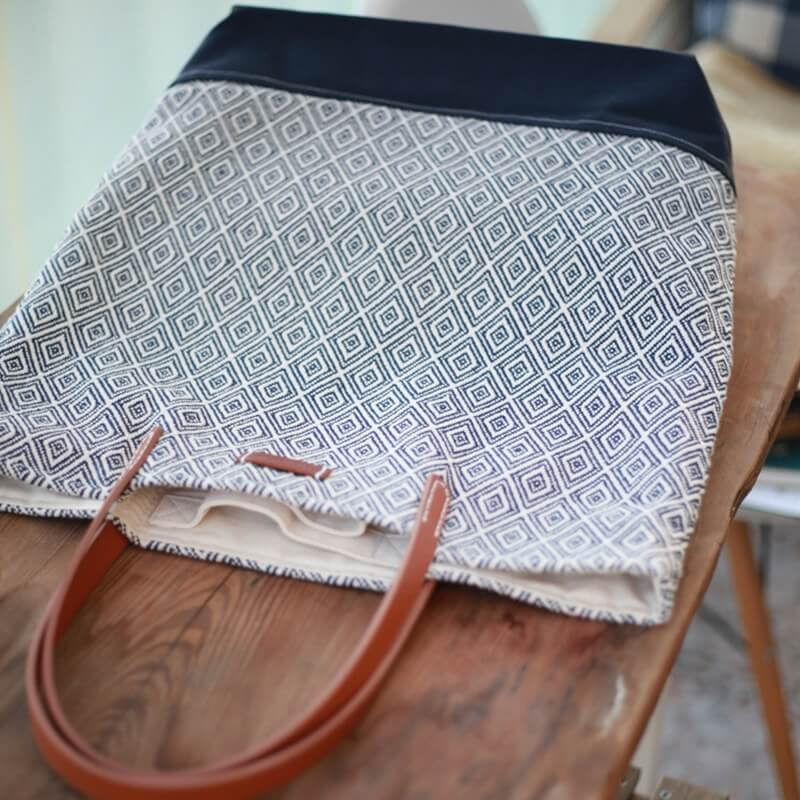 Blue Stripe Handmade Canvas Leisure Bag 00300 - icambag