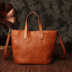 Genuine Leather Handmade Women's Handbags,Large Vintage Tote Bags 9671 - icambag