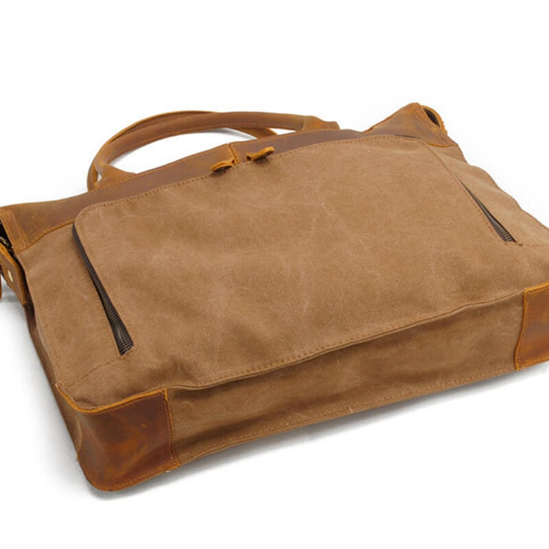 Handmade Retro Top Grain Leather Bag,Men' Message Bag,15'Laptop 2193 - icambag