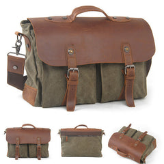 Canvas Leather Single Shoulder Messenger Laptop Bag 1023 - icambag