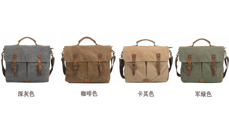 Canvas Leather Travel Bag Single Shoulder Bag Messenger Laptop Bag 1806 - icambag